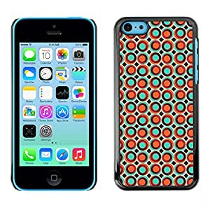 Qstar Arte & diseño plástico duro Fundas Cover Cubre Hard Case Cover para Apple iPhone 5C ( Dots Spots Bubble Wallpaper Orange Colorful)