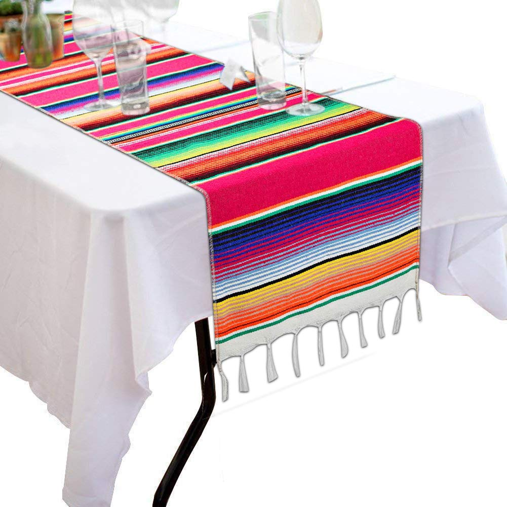 Morinostation Mexican Table Runner 14 x 84 inch Mexican Party Wedding Decorations, Fringe Cotton Serape Blanket Table Runner
