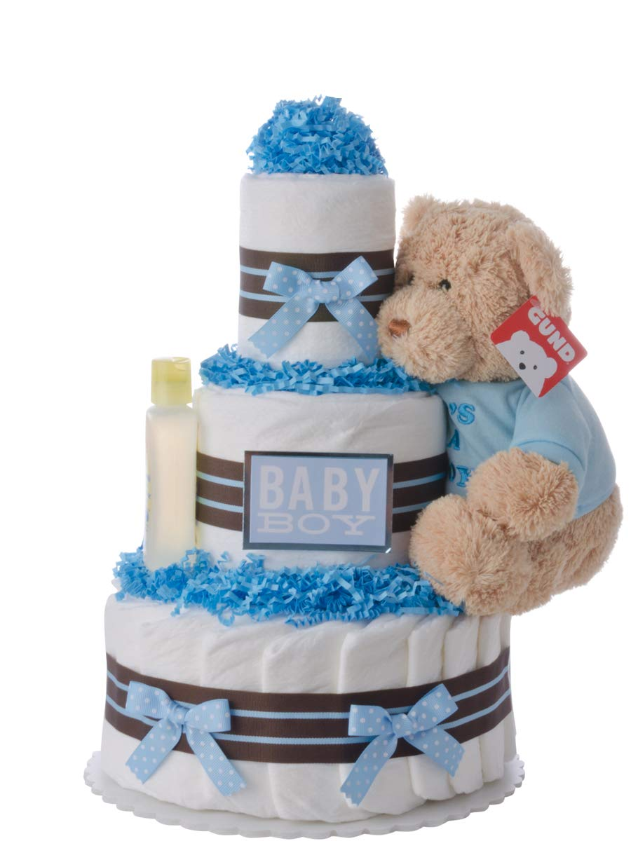 Diaper Cake - Darling Boy Theme Handmade By Lil Baby Cakes - Baby Boy Gift - Makes a Great Baby Shower Centerpiece Lil' Baby Cakes