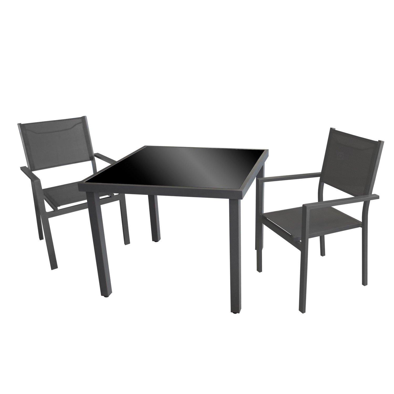 3tlg. Bistrogarnitur Gartengarnitur 90x90cm Aluminium Gartentisch mit schwarzer Tischglasplatte inkl. Aluminium Stapelstuhl Grau mit 4x4 Textilenbespannung Sitzgruppe Gartenmöbel Set