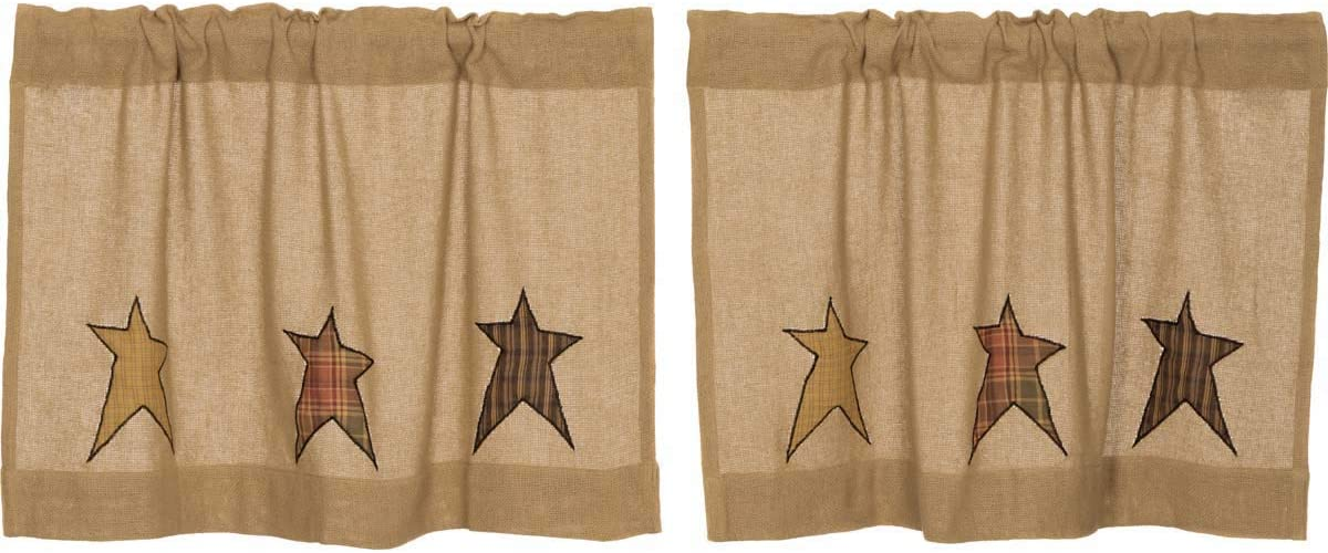 VHC Brands Stratton Burlap Applique Star Tier Set of 2 L24xW36 Country Curtains, Tan