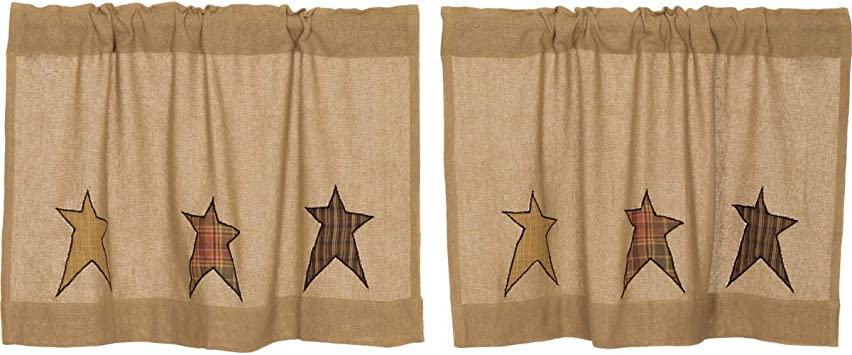 VHC Brands Primitive Kitchen Curtains Sutton Rod Pocket Appliqued Cotton  Burlap Star 24x36 Tier Pair, Natural Tan