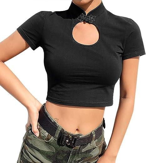 TOPKEAL Camiseta Corta de Manga Corta de Cuello Alto y Color