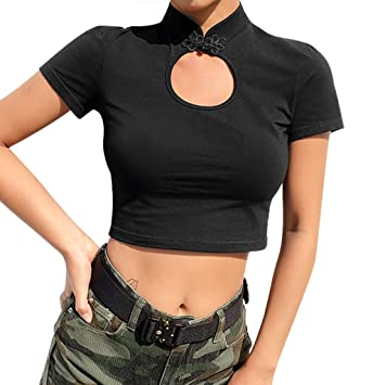 137c5fc0926 Amazon.com : Jiayit Fashion Women Short Paragraph T-Shirt Sexy Solid Turtleneck  Short Sleeve Button Hollow Out Crop Top Tee : Beauty