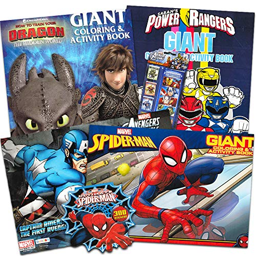 (Super Hero Coloring Book Super Set for Kids Toddlers -- 4 Giant Coloring Books Featuring Marvel Avengers, Spiderman, Power Rangers, How to Train Your Dragon (Includes Avengers and Spiderman)