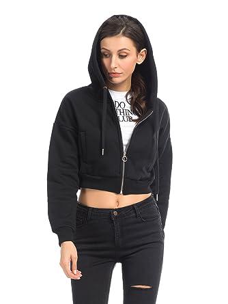e751e0be1dbd9 Clothink Women Crop Sweatshirt Hoodie Long Sleeve Full Zip Hooded Top Black  S