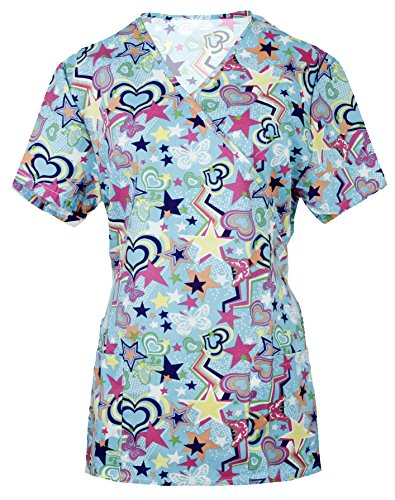 G Med Womens New Design Printed Mock Wrap Back Tie 2 Pockets Scrub Top(TOP-MED,BLU-M)