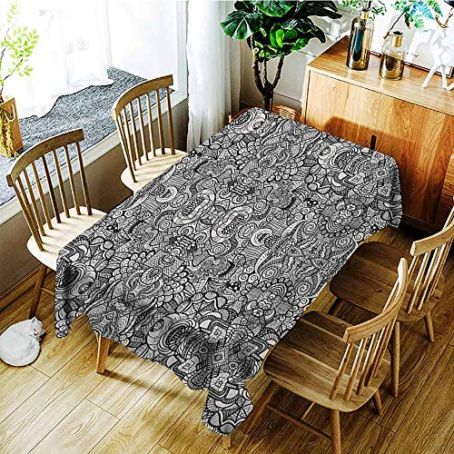 XXANS Custom Tablecloth,Abstract,Abstract Composition Floral and Geometric Elements Symmetrical Tattoo Design,Table Cover for Dining,W54x90L Beige Black