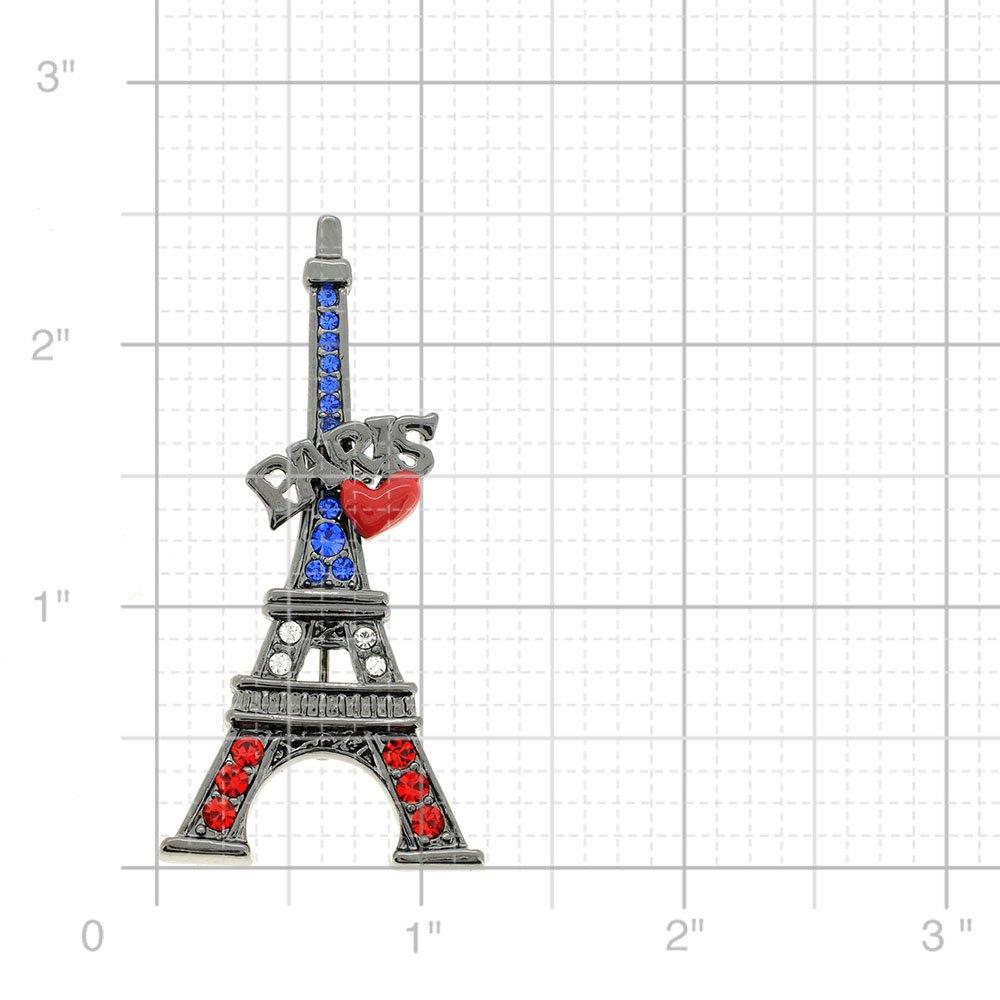 Fantasyard Patriotic Paris Eiffel Tower Swarovski Crystal Pin Brooch