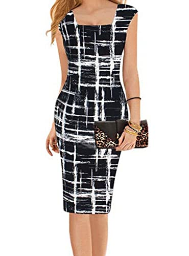 Square Neck Striped Black Midi Dress Wear to Work Sheath Pencil Dress for Women