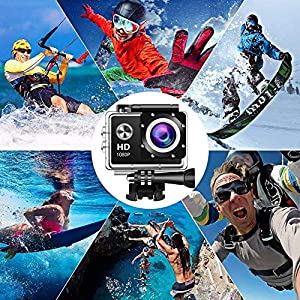 Action Camera Sport Camera 1080P Full HD Waterproof Underwater Camera 140° Wide-Angle Lens 12MP 2 Rechargeable Batteries Mounting Accessories Kit - Black06
