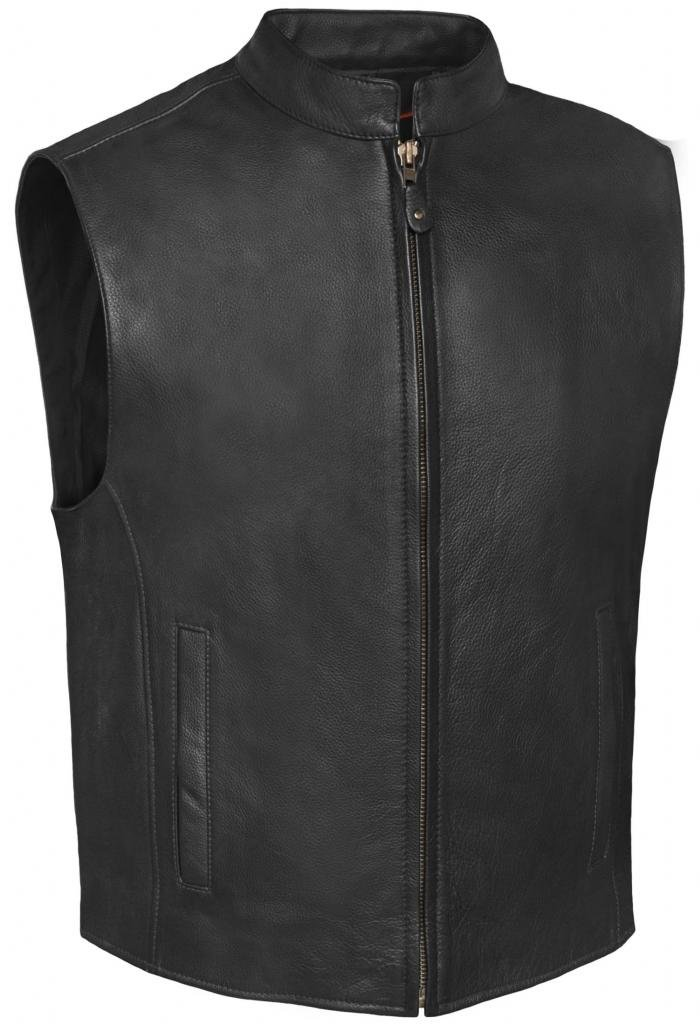 True Element Mens Single Back Panel Leather Motorcycle Club Style Vest w/Concealed Carry Pockets(Black, Size 3XL) by True Element