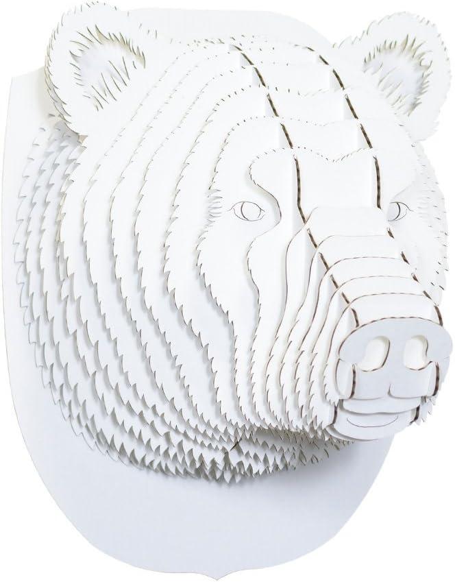 Cardboard Safari Recycled Cardboard Animal Taxidermy Bear Trophy Head, Stewart White Small