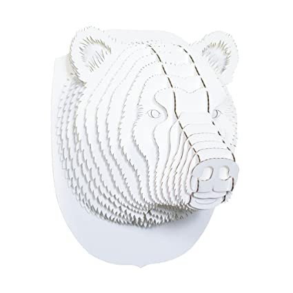 Amazon cardboard safari recycled cardboard animal taxidermy cardboard safari recycled cardboard animal taxidermy bear trophy head stewart white small maxwellsz