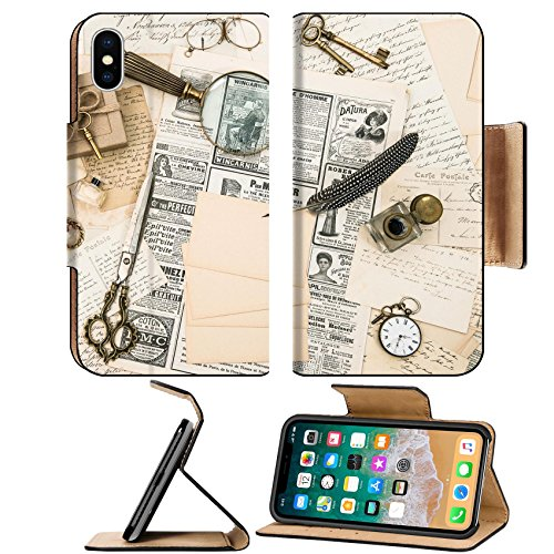 MSD Premium Apple iPhone X Flip Pu Leather Wallet Case antique accessories vintage fashion magazine old letters and postcards retro style nostalgic background IMAGE 30556580
