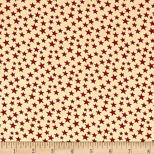 Santee Print Works Patriotic 108'' Quilt Backs Small Stars Fabric, Red/Antique, Fabric By The Yard - Patriotic Quilt Fabric