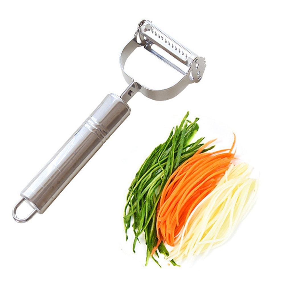 Bringsine Premium Ultra Sharp Stainless Steel Dual Julienne & Vegetable Peeler Slicer - Amazing Tool for Making Delicious Salads and Veggie Noodles