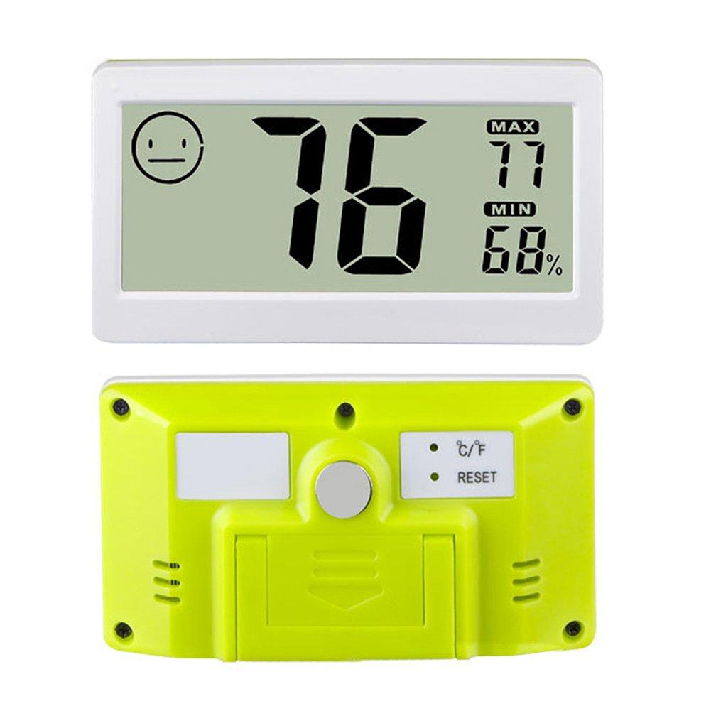 Termómetro digital para interiores con gran soporte de pantalla, imán para colgar en la pared, monitor de temperatura, medidor de humedad para invernadero, hogar, cocina, coche Tamaño libre blanco
