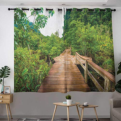 (Custom Curtains Forest Wood Bridge Around Mangrove Forest Thapom Krabi Thailand Natural Landscape Insulated with Grommet Curtains for Bedroom W 72
