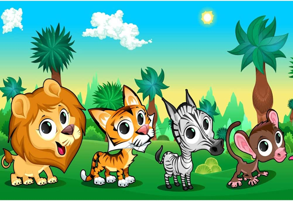 DORCEV 6x6ft Cartoon Jungle Animal Backdrop for Jungle Safari Theme Children Birthday Party Baby Shower Photography Background Green Leaf Floral Lion Elephant Monkey Party Banner Photo Studio Props