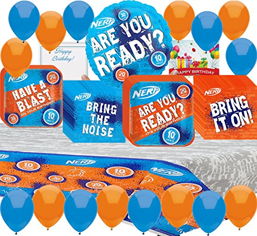 Nerf Party Supplies Birthday Plates, Napkins, Tablecover Balloons, Birthday Card Bundle