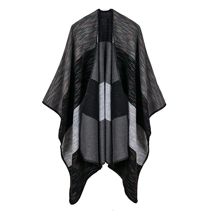 6bcef1620 Image Unavailable. Image not available for. Color: Bakerdani Women's Color  Block Shawl Wrap Open Front Poncho Cape ...