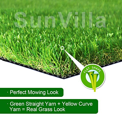 SunVilla 4'X7' Realistic Indoor/Outdoor Artificial Grass/Turf 4 x 7 (28 Square FT), 4' x 7', Olive Green/Yellow (4' Olive)