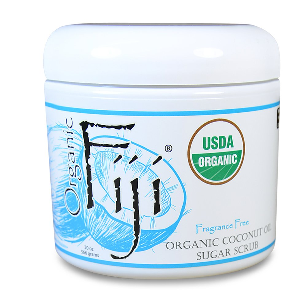 Organic Fiji Fragrance Free Sugar Scrub 20oz for Face &Body