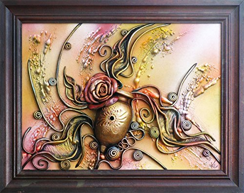Hand Painted Ceramic Vase Wall Decoration Picture, 3D Hand-Painted Leather Art, Wooden Frame, Leather Rose, Acrylic Paste Relief Background, Wall Hang…