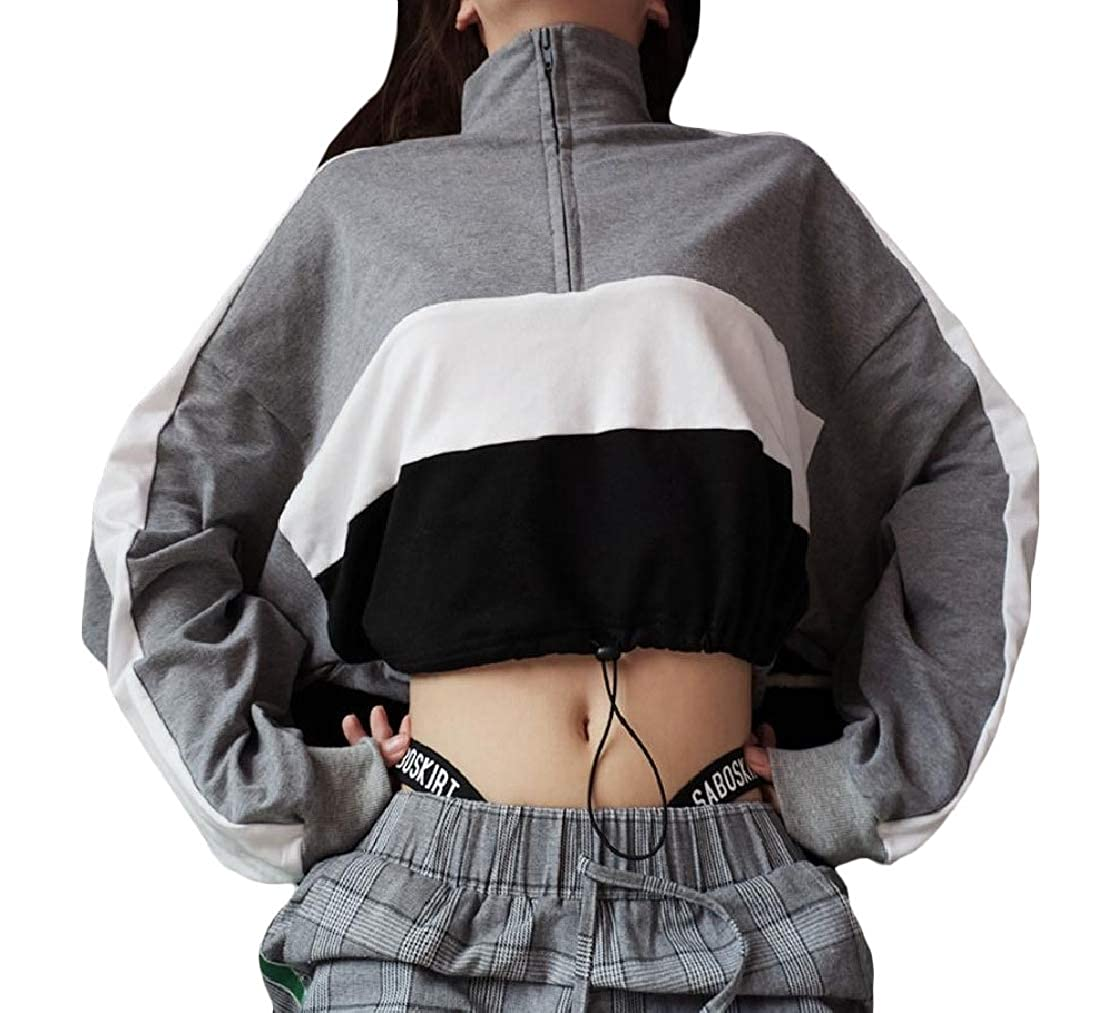 YUNY Womens Zipper Stand up Collar Crop Long Sleeve Contrast Sweatshirts Top Grey XS