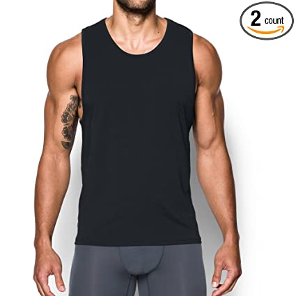 b16893130ef25 Amazon.com  Under Armour Charged Cotton Tank Undershirt – 2-Pack ...