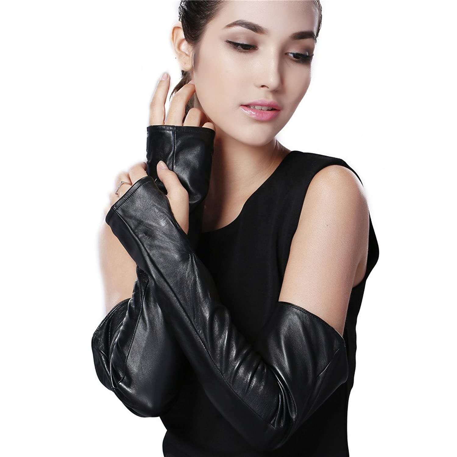 Best womens leather gloves - Furtalk Best Womens Fingerless Elbow Long Driving Nappa Leather Gloves Outlet