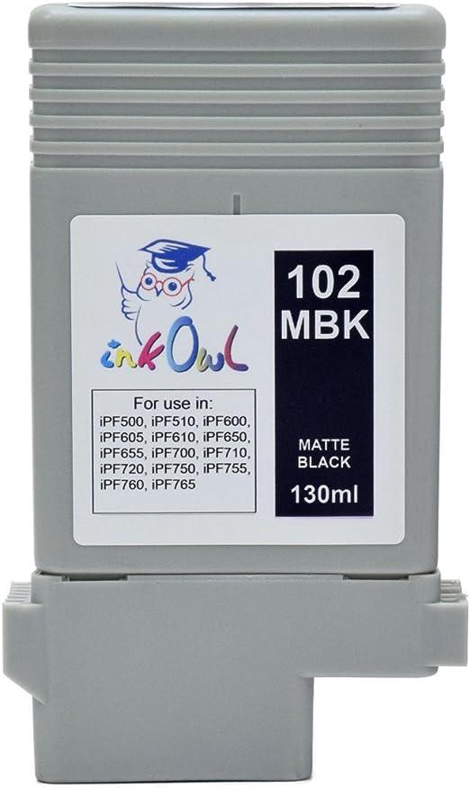 inkowl – Compatible Cartuchos de tinta de repuesto para Canon PFI-102MBK (130ml) negro mate, imagePROGRAF iPF500 ...