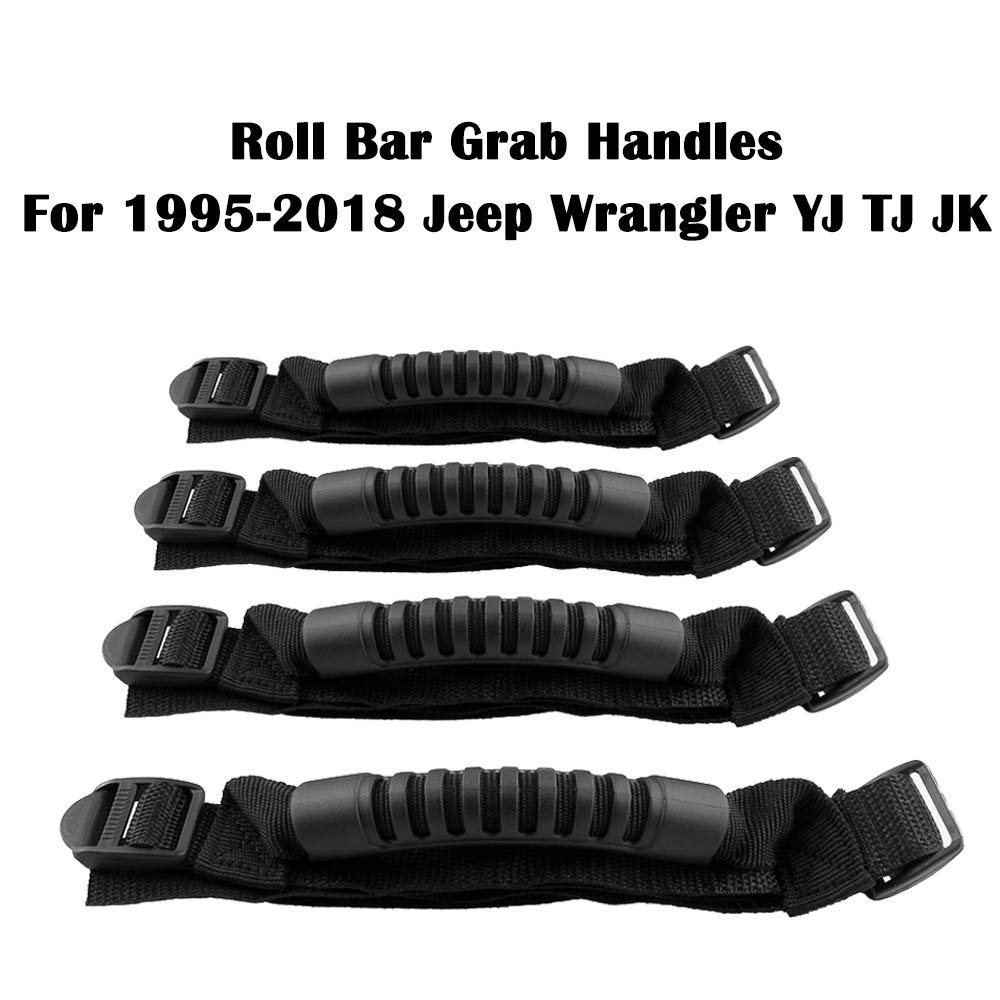 4 Pack AnTom Grab Handles Grip Handle for Jeep Wrangler Roll Bar Accessories for Jeep Wrangler Accessories YJ Fits 1955-2019 TJ JK JKU JL JLU CJ CJ5 CJ7
