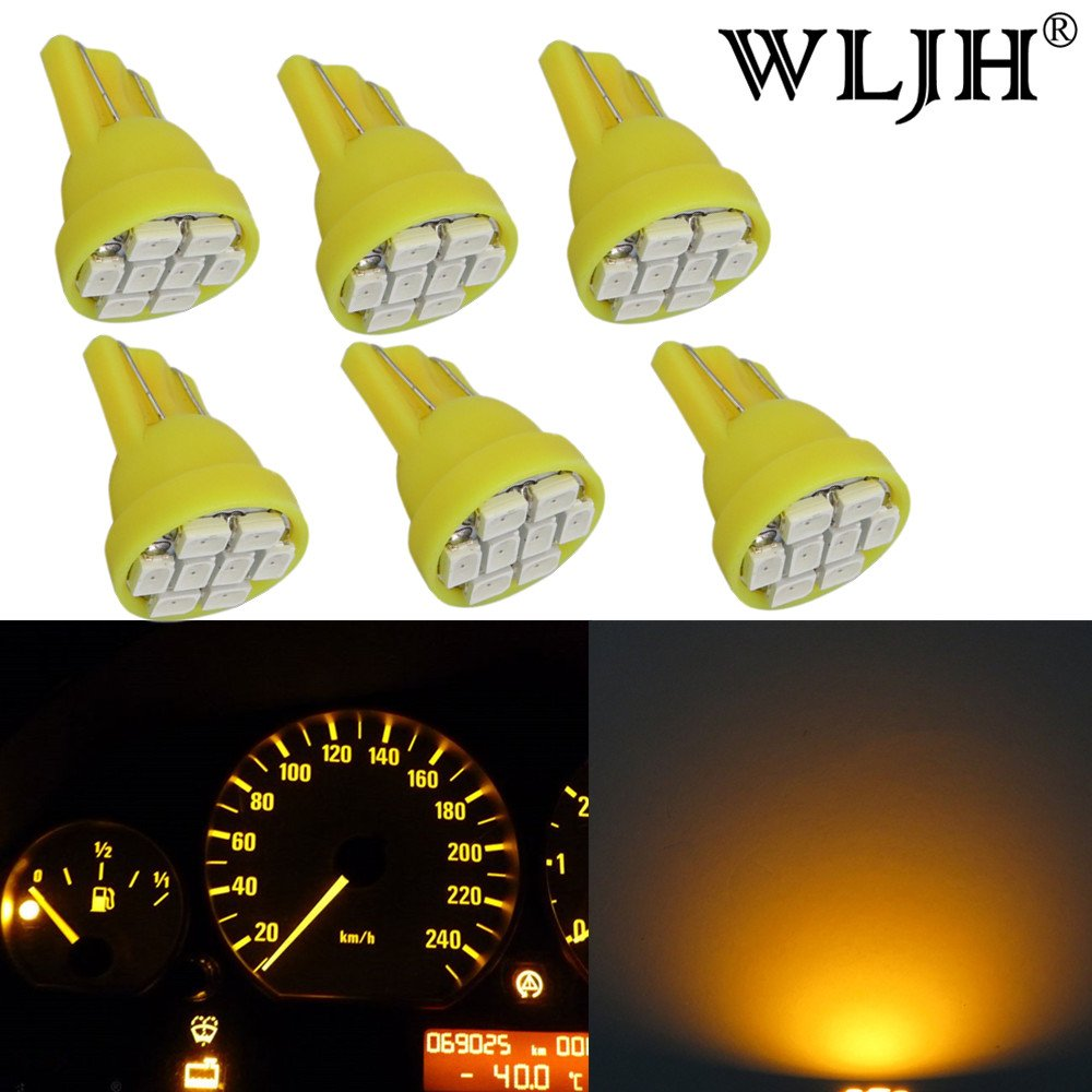 WLJH T10 2825 Yellow LED Bulbs8-3020SMD PC194 168 W5W LED Light Bulbs for Instrument Panel Dashboard Cluster Gauge light Lamp, Pack of 6