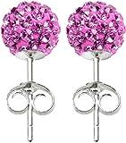 Silver CZ crystal stud earrings - 6MM - packed inside a lovely velvet pouche
