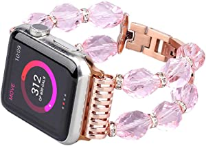 ZOOZOOT Bracelet Compatible with Series 6/5 Apple Watch Band 40mm/38mm 42mm/44mm Women Fashion Crystal Beads Replacement for iWatch Series 4/3/2/1 38mm/40mm 42mm/44mm with Stainless Steel Adapter