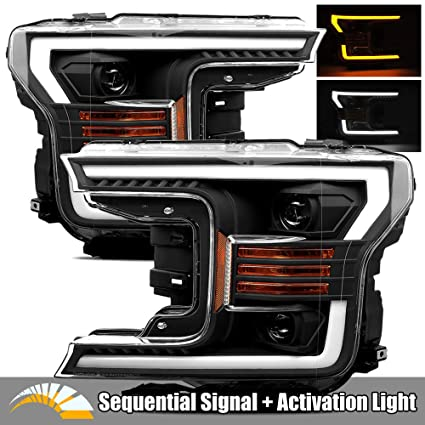 Modifystreet Black 18 19 Ford F150 Halogen Type Led Tube Dual Projector Headlights With Switchback Drl Sequential Signal Activation Light