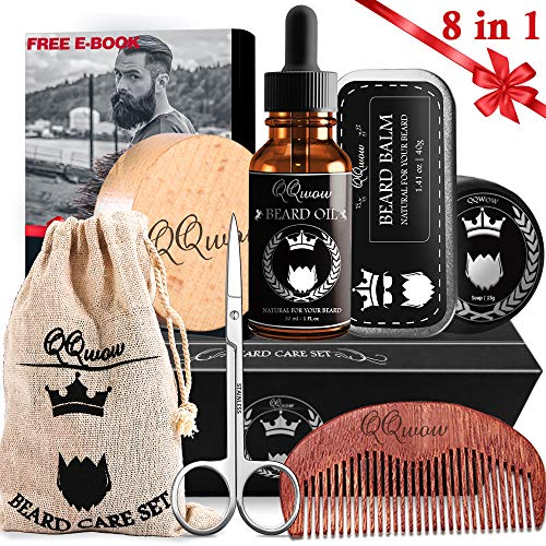 8 in 1 Beard Care Kit for Men - Beard Brush, Wood Beard Comb, Unscented Beard Balm, Beard Oil, Beard & Mustache Scissors, Beard Soap, Storage bag, Free E-book, Perfect Beard Grooming Gift Set for Men