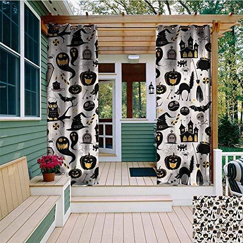 Beihai1Sun Custom Outdoor Curtain,Vintage Halloween Tombstone Skulls,for Porch&Beach&Patio,W72x84L ()