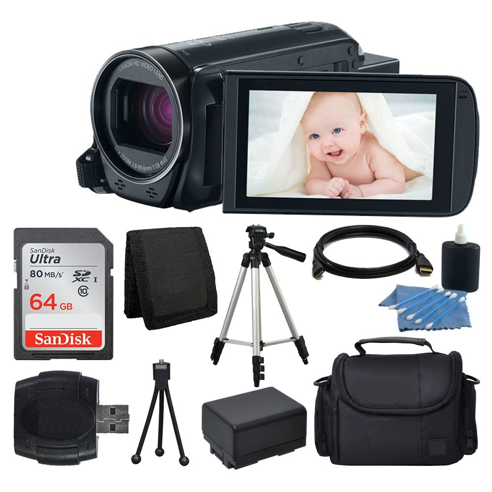 Canon VIXIA HF R700 Full HD Camcorder (Black) + 64GB SDHC Memory Card + Camera/Video Case + Full Tripod + Camera/Video Case + USB Card Reader + Cleaning Kit + Extra Battery + Complete Bundle by PHOTO4LESS