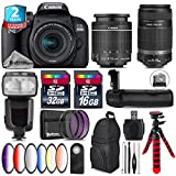 Canon EOS Rebel 800D/T7i Camera + 18-55mm IS STM Lens + Canon 55-250mm IS Telephoto Lens + Pro Flash + Battery Grip + 6PC Graduated Color Filter Set + 2yr Warranty - International Version