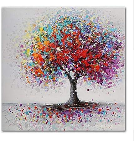Chaoaihekele Abstrait Arbres Paysage Peintures À L'Huile Impression Sur  Toile Coloré Pop Art Impressions Sur Toile Mur Photos Pour Le Salon Sans  Cadre 60X60Cm: Amazon.fr: Cuisine & Maison