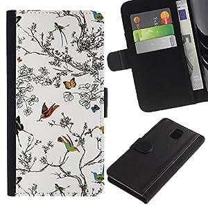 KingStore / Leather Etui en cuir / Samsung Galaxy Note 3 III / Árboles Pintura Dibujo Naturaleza Blanca