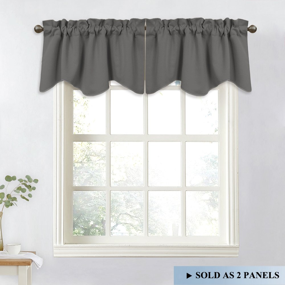 NICETOWN Bedroom Blackout Window Valances - Home Decoration 52-inch by 18-inch Scalloped Rod Pocket Curtains for Kitchen (Grey, 2 Panels)