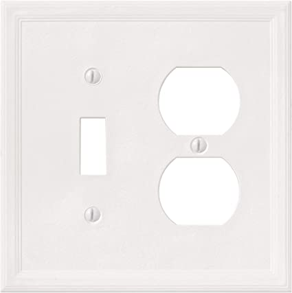 1 Toggle 1 Duplex Combination White Light Switch Cover Decorative Outlet Cover Wall Plate Amazon Com