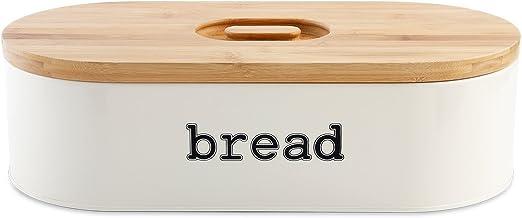 svebake Panera – Metal pan Caja con tapa de agarre fácil bambú ...