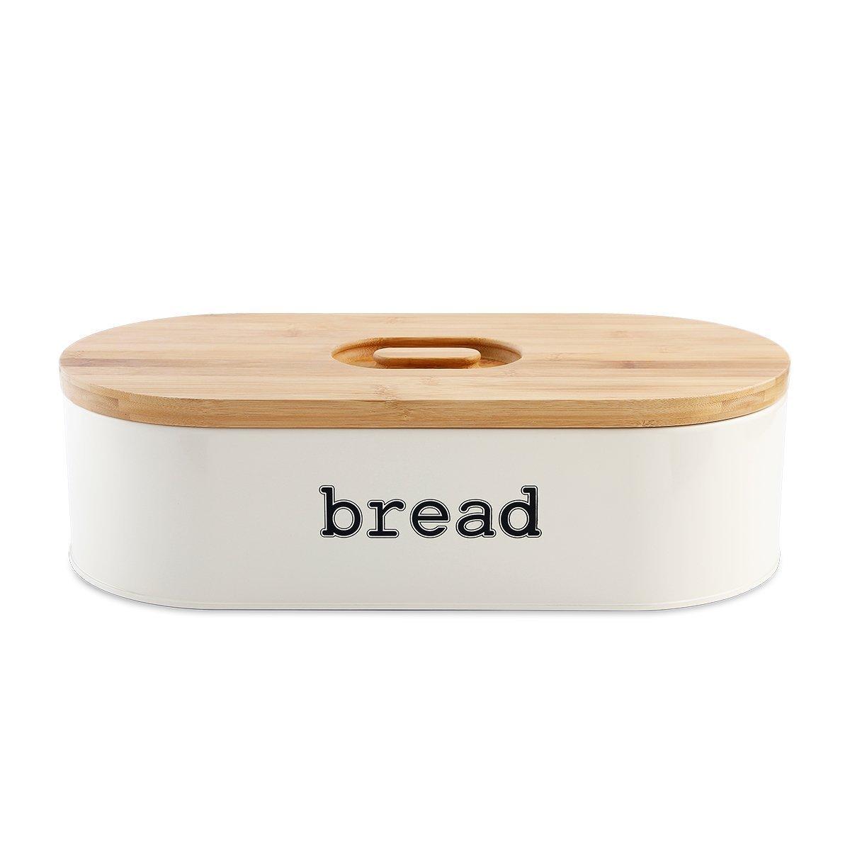 svebake Panera – Metal pan Caja con tapa de agarre fácil bambú, Retro y diseño