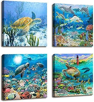 Bathroom Wall Decor Sea Turtle Wall Art Painting Ocean Photo Beach Decor -  4 Panel Modern Framed Canvas Prints Nautical Lighthouse Fish Coastal Decor  ...