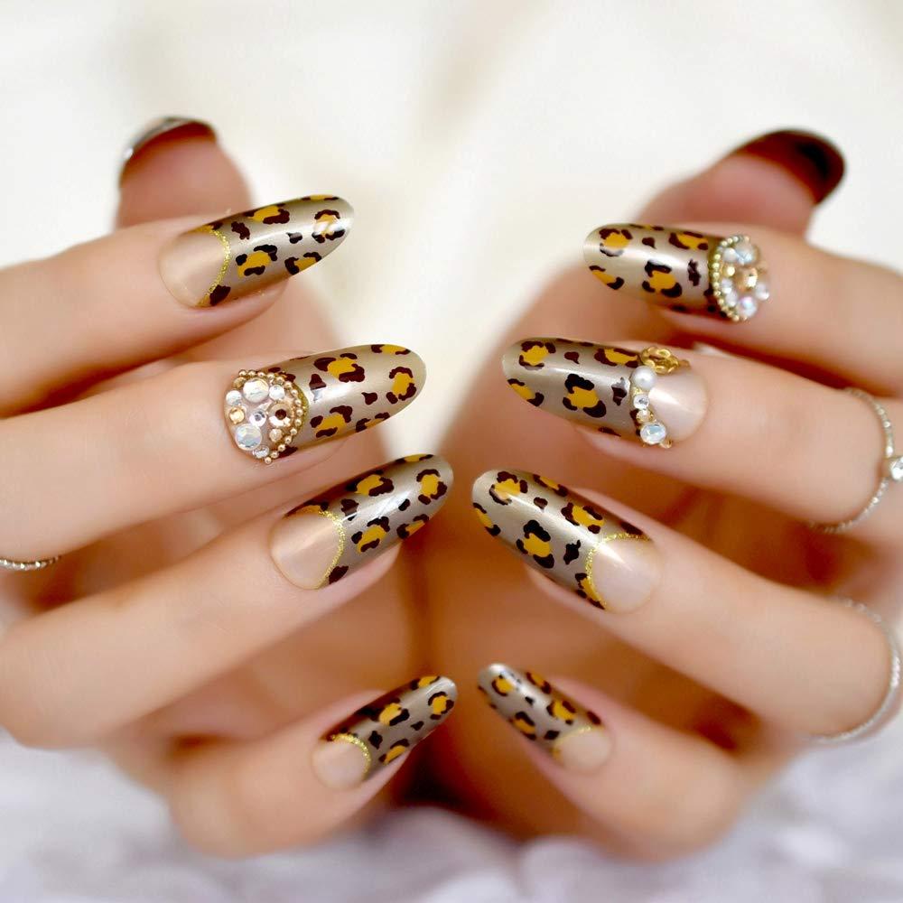 EchiQ - uñas postizas 3D largas redondas doradas con leopardo francés, color marrón y dorado con purpurina: Amazon.es: Belleza